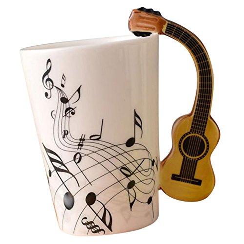 Fenteer Taza De Cerámica De La Música De La Taza De Café del Regalo De La Taza De Las Notas Musicales De La Novedad para Los Amigos - Guitarra Negra