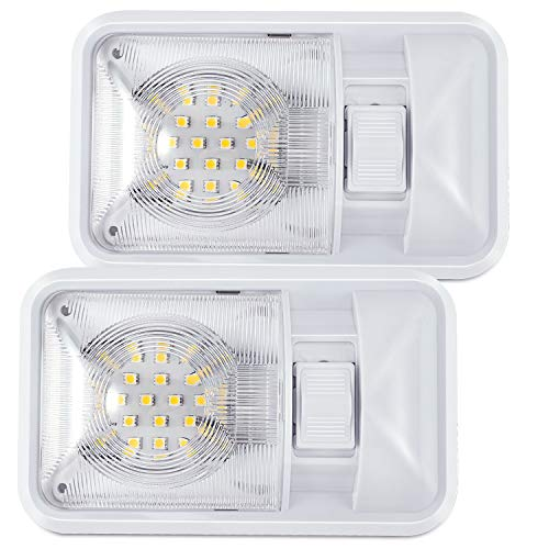 Kohree 12V Led RV Ceiling Dome Light RV Interior Lighting for Trailer Camper with Switch, Single Dome 320LM Each (Pack of 2)