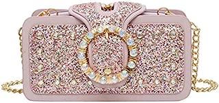 TOOGOO Sequin Diamond Small Square Bag Trend Fashion Bag Ladies Chain Shoulder Bag Pink