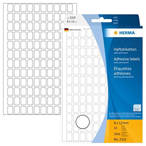 HERMA 2310 Vielzweck-Etiketten mini (8 x 12 mm, 32 Blatt, Papier, matt) selbstklebend, permanent haftende Haushaltsetiketten zur Handbeschriftung, 3.840 Haftetiketten, weiß