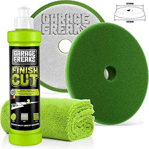 Garage Freaks - Step 3 – Finish Cut Set Finish Cut de pulido de alto brillo 250 ml Finish Cut Foam Pad + Edgeless Superflausch Microfibra Gamuza 40 x 40 cm, 550 GSM