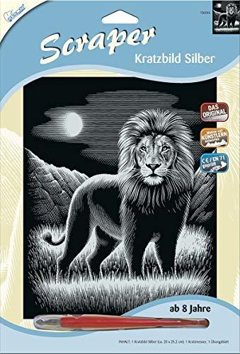 Mammut Spiel & Geschenk 136046 Kratzbild Motiv Löwe, Silber, glänzend, Komplettset mit Kratzmesser und Übungsblatt, Scraper, Scratch, Kritzel, Kratzset für Kinder ab 8 Jahre