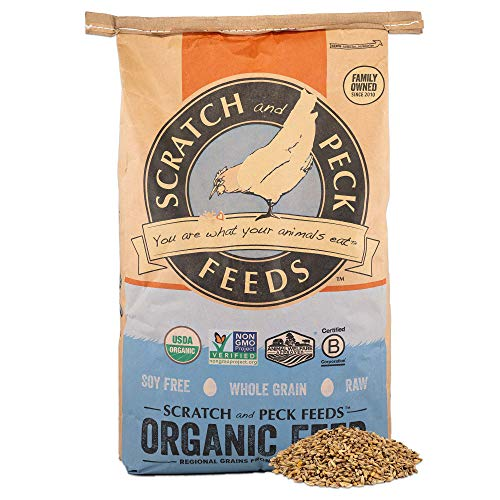 Scratch and Peck Feeds - Organic 3-Grain Scratch Hen Treat - Non-GMO Project Verified, Soy Free and Corn Free - 25-lbs