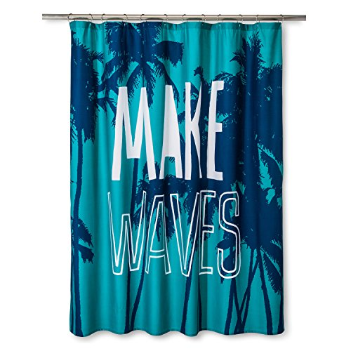 "Pillowfort Make Waves Twill Shower Curtain 72""x 72"" ""Marine Blue"""