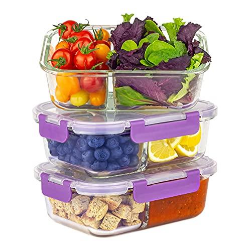 Home Planet Lot de 3 boîtes à repas en verre à 2 compartiments - 1050 ml - 97 % de plastique - Avec couvercles - Pour conserver les aliments en verre