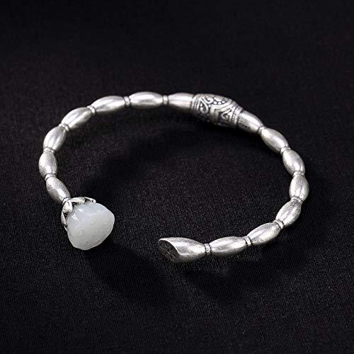 Laogg Jade Armbänder für Damen,S925 Sterling Silber Natürliche Hetian Jade Lotus Chinesischen Stil Wilde Eröffnung Schmuck