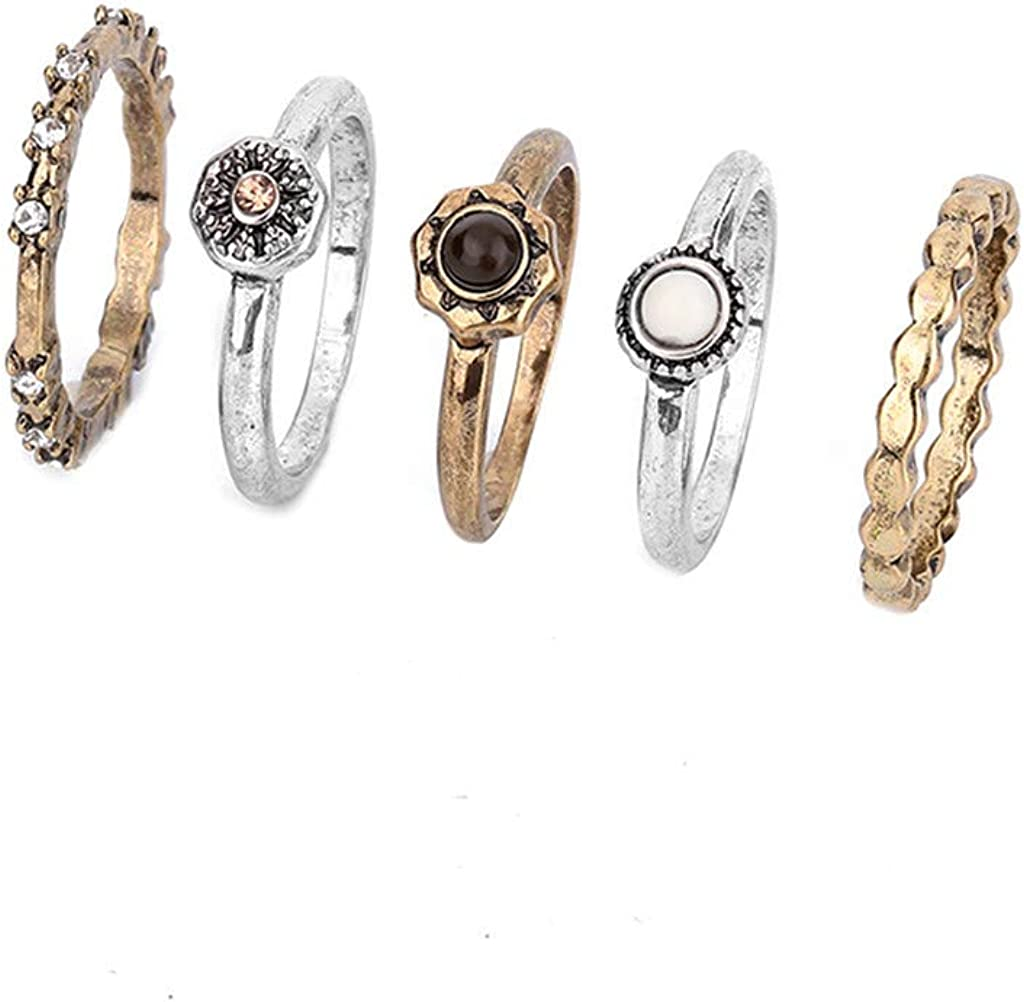 Nmch 5PCS Retro Rings security for Women In Tail Set Fashion Simple Under blast sales