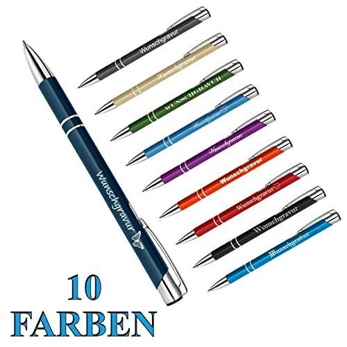 polar-effekt 1 Metall Oleg Kugelschreiber mit Gravur des Namens - Personalisierte Geschenk-Idee zum Geburtstag Mitbringsel - blau schreibend - Farbe blau