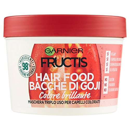 Garnier Fructis Hair Food Bacche di Goji Maschera Nutriente 3 in 1 con Formula Vegana per Capelli Colorati, 390 ml