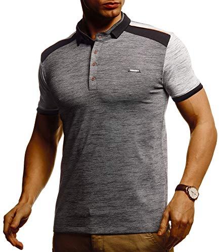 Leif Nelson Herren Sommer T-Shirt Poloshirt Slim Fit Cooles Basic Männer Polo-Shirt Crew Neck Jungen Kurzarmshirt Polo Shirt Sweater Kurzarm LN55190 Anthrazit X-Large