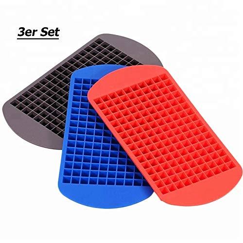 S_CUBE Eiswürfelform Silikon BPA-Frei Eiswürfelformen für Cocktails,Saft,Cola,Getränk Flexible Silikonformen 160 Fach Eiswürfel Würfel: (1X1X1 cm) 3er Pack (Schwarz,Rot,Blau)