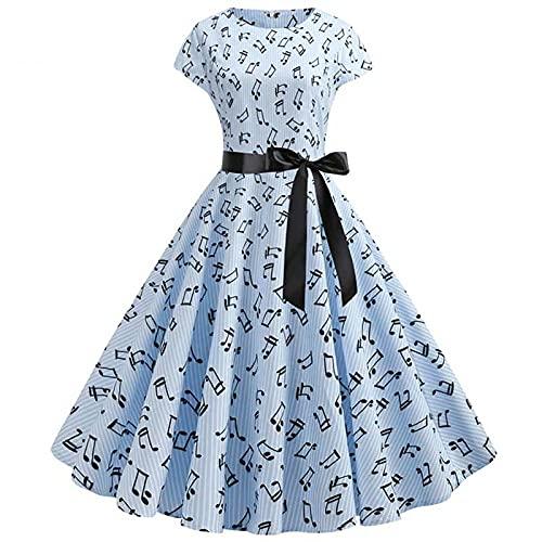 HAIBI Mujer Vestido Vestido De Verano Estampado Floral Vintage Nota Musical Dot Ladies Robe Sundress Vestidos De Fiesta De Talla Grande, Diseño 1, XL