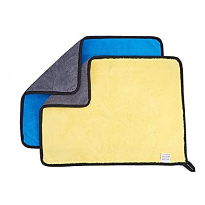 JSCARLIFE Yellow/Blue Microfiber Cleaning Cloth...