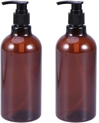 Frcolor ポンプ瓶 500ml ポンプボトル 遮光瓶 ドロップポンプ 詰め替え容器 シャンプーハンドソープ PET製 2本セット(茶色/ポンプヘッドのランダムカラー)
