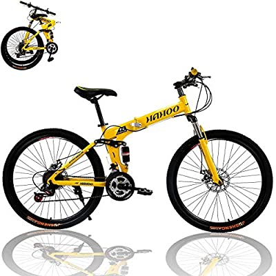 26 inch Adults Folding Mountain Bike for Men & Women High-Carbon Steel Mountain Bike Outdoor Exercise Road Bikes with 21 Speed Dual Disc Brakes Full Suspension Non-Slip(Yellow)