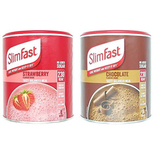 SlimFast KIT gemaakt van eiwitrijke maaltijdvervangende shakes Chocolade 300 g, aardbei 292 g, 2 smaken in één handige set