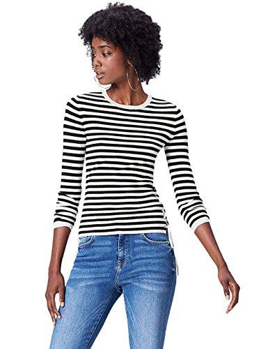 FIND Jersey de Rayas Marineras para Mujer , Multicolor (Black/white), 38 (Talla...