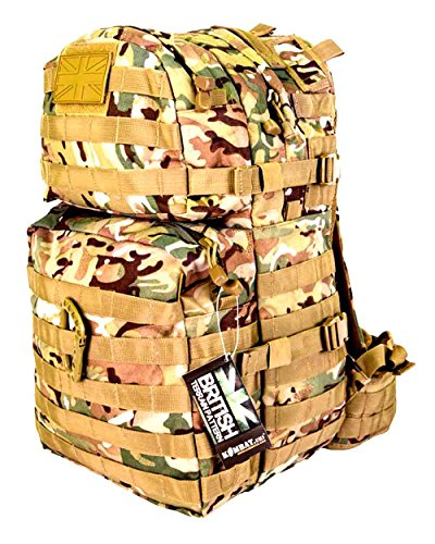 British Army SAS Military Tactical Combat Rucksack Bergen Molle 40 Litre L Surplus NewCamo All Terrain UTP by Zip Zap Zooom