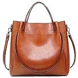 Pahajim fashion Women Oil wax PU Leather Bucket Bag Top Handle Satchel Purses Crossbody Bag Shoulder Waterproof Handbags Tote Bags for Ladies(Brown)