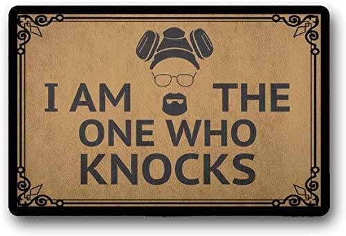 """Solatman I Am The One Who Knocks - Felpudo de bienvenida al aire libre con texto en inglés """"I Am The One Who Knocks"""" (45 x 75 cm)"""