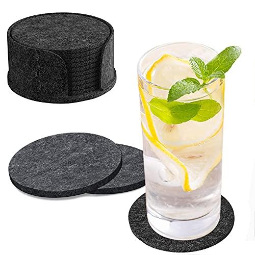 Filzuntersetzer für Gläser 10er Set, Dunkelgrau Untersetzer Filz Glasuntersetzer Rund mit Aufbewahrungsbox, Getränkeuntersetzer Waschbar Coasters für Getränke, Bar, Tassen, Glas - Tischuntersetzer