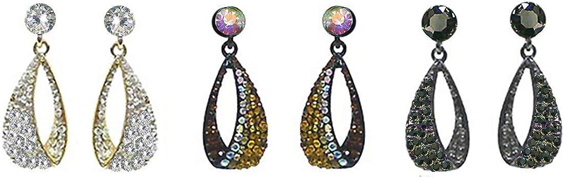 Set of 3 Bella Dangle Earrings For Pieced Ears CE89012-722-3