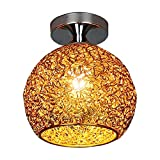 Baoblaze Lámpara de Techo de Montaje Semi Empotrado, lámpara de Techo con Pantalla de Aluminio, lámpara de Techo, Moderna Cerca del Techo, Accesorios de - Dorado