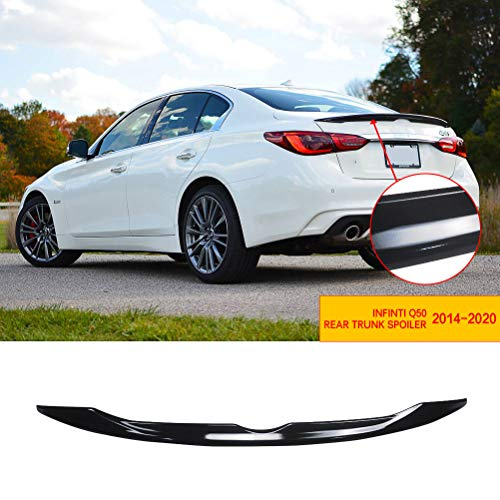 NINTE Rear Spoiler Wing JDM Style for 2014-2020 Infiniti Q50,Gloss Black ABS Material Rear Trunk Lip Diffuser Splitter