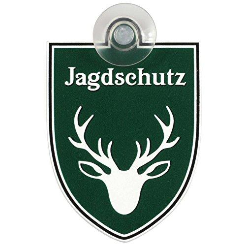 Schild, Autoschild Jagdschutz mit Saugnapf, 1,1mm wetterfestes Material 75 x 100 mm groß, von innen oder außen