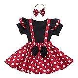 IBTOM CASTLE Baby Girl Polka Dot Mini Costume 1st Birthday Outfit Dress Up Romper Overall Suspender Tutu Skirt Headband Photo Prop Cake Smash 3pcs Outfit Red+Black 6-9 Months