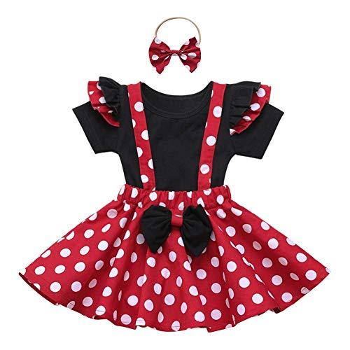 Recién Nacido Infantil Bebé Niña Disfraz de Minnie Mouse Camisa de Algodón Manga Corta Lunares Falda de Tirantes Diadema 3pcs Set para Fiesta Cumpleaños Carnaval Navidad Halloween Negro 04 9-12 Meses
