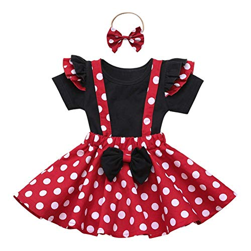 IBTOM CASTLE Baby Girl Polka Dot Mini Costume 1st Birthday Outfit Dress Up Romper Overall Suspender Tutu Skirt Headband Photo Prop Cake Smash 3pcs Outfit Red+Black 2-3 Years