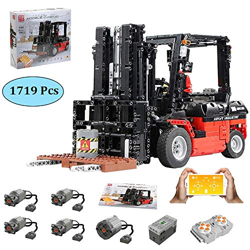 LODIY Technik Gabelstapler Ferngesteuert Bausteine mit Motor - 1719 Teile App-Steuerung RC Gabelstapler Konstruktionsspielzeug Kompatibel mit Lego Technik