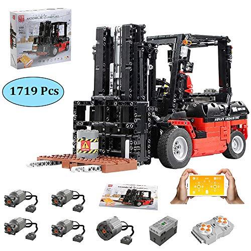 LODIY Technik Gabelstapler Bausteine Auto Ferngesteuert mit App-Steuerung - 1719 Teile Gabelstapler Klemmbausteine Konstruktionsspielzeug Kompatibel mit Lego