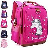"Kids Backpack for Girls Unicorn Backpack for School Water Repellent | Cute Backpacks for Elementary or Kindergarten | Pink School Bag 15"" School Backpack"