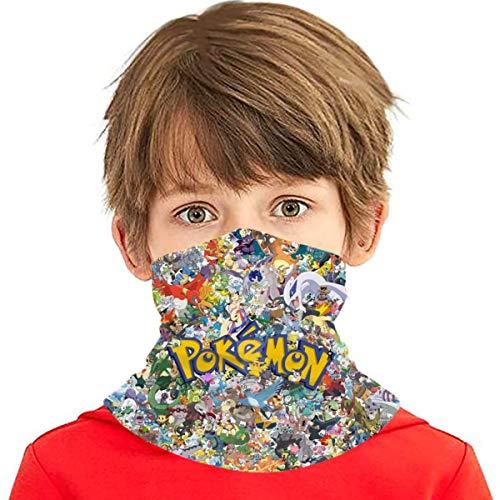 Cartoon Poke Kids Neck Gaiter Face Covering Boys Girls Bandanas Mouth Cloth Cover Balaclavs Tube Headbands For Dust Sun Protection