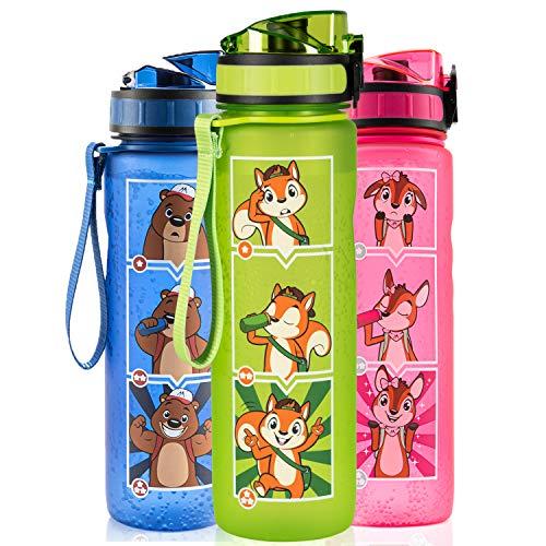 Monte Stivo® Friends Botella Agua niños | 600ml sin BPA cantimplora Infantil | El Regalo Ideal para niño y niña para la Escuela y el Ocio (Verde)