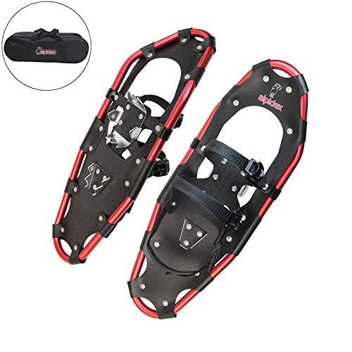 ALPIDEX Schneeschuhe Aluminium Rahmen Damen Herren ab Schuhgröße 36 bis 135 kg Ratschenbindung Tragetasche, Farbe:Black/Red 25