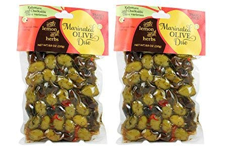 Trader Joes Marinated Olive Duo with Lemon and Herbs (2 Pack), 8.8 OZ each - SET OF 2