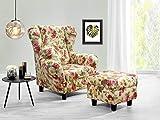 lifestyle4living Ohrensessel mit Hocker mit Webstoff Blumenmuster bezogen | Der perfekte Sessel für...