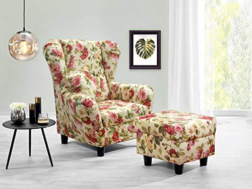 lifestyle4living Ohrensessel mit Hocker mit Webstoff Blumenmuster bezogen | Der perfekte Sessel für entspannte, Lange Fernseh- und Leseabende. Abschalten und genießen!