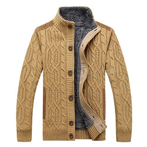 GWELL Herren Strickjacke mit Fleece Zopfmuster Sweater Cardigan Strickpullover mit Knöpfen Stehkragen Slim Fit für Herbst Winter Große Größe Gelb EU XL