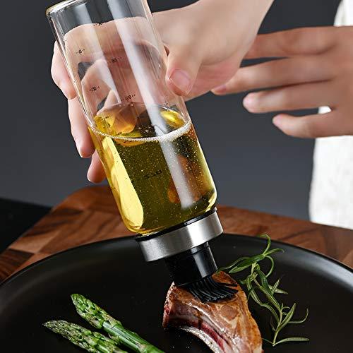 Bongba Dispensador de aceite de oliva con cabezal de cepillo de silicona, botella de vinagre transparente de 170 ml dispensador de aceite para barbacoa, ensalada, hornear, asar
