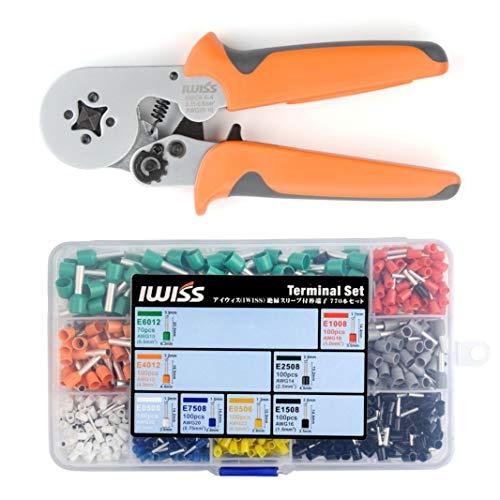 アイウィス(IWISS) フェルール用圧着ペンチ 0.25-6.0mm2 HSC8 6-4 ワイヤーエンドスリーブ用棒端子 端子セット品 HSC8 6-4/E-770