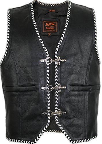 MDM Lederweste mit schwarz/weißen Kordeln (XL)