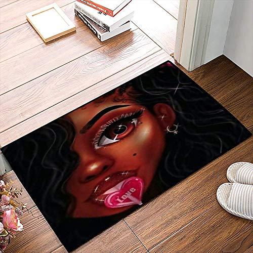 QDYLM Alfombra de baño de Microfibra esponjosa,Hermosa Mujer Negra Comiendo una piruleta es Brillante, alfombras de Ducha de Suave Absorbente de Agua, 50x80 cm