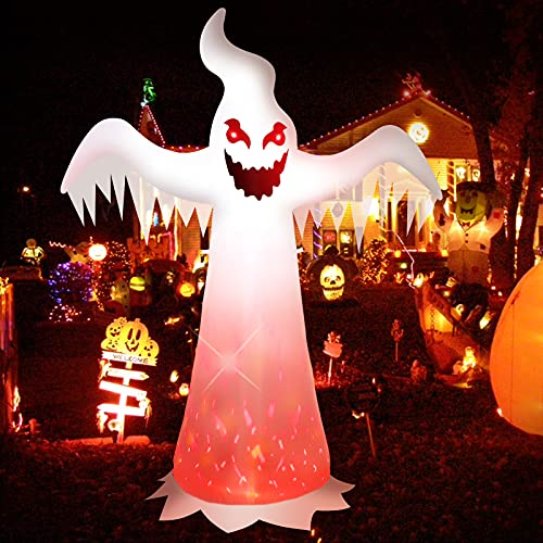 Halloween Inflatables 8 FT White Ghost, Outdoor Halloween Decorations with Built-in LED Lights, Creepy Ghost Blow Up Outside Decor with Evil Red Eyes & Burning Fire Flame for Party/Home/Yard/Garden