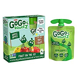 GoGo squeeZ Applesauce on the Go, Apple Apple, 3.2 Ounce, Gluten Free, Vegan Friendly, Unsweetened A