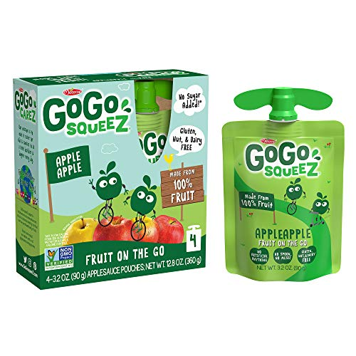 GoGo squeeZ Applesauce, Apple Apple, 3.2 Ounce (48 Pouches), Gluten Free, Vegan Friendly, Unsweetened Applesauce, Recloseable, BPA Free Pouches