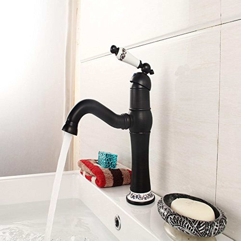 LHbox Das Kupfer Waschbecken Wasserhahn, Keramik Waschbecken Wasserhahn, Schwarz Antiken Keramik Waschbecken Wasserhahn